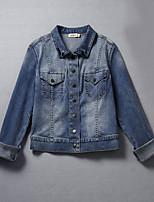 Для женщин На выход На каждый день Весна осень Джинсовая куртка Воротник шалевого типа,просто Однотонный Короткие Длинный рукав,Хлопок