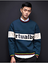 Men's Casual/Daily Simple Sweatshirt Letter Tassel Round Neck Fleece Lining Micro-elastic Polyester Long Sleeve Spring