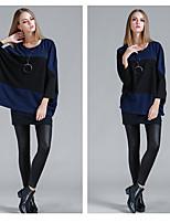 Damen Standard Pullover-Lässig/Alltäglich Patchwork Rundhalsausschnitt ¾-Arm Baumwolle Polyester Elasthan Frühling Mittel Mikro-elastisch