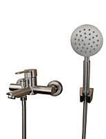 Contemporary Modern Tub And Shower Widespread with  Ceramic Valve Single Handle Two Holes for  Stainless Steel , Bathtub Faucet