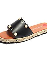 Women's Slippers & Flip-Flops Summer Mary Jane Leatherette Casual Flat Heel Pearl Rivet Walking