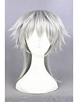 Curto touken ranbu online tsurumarukuninaga prateado sintético 16inch anime cosplay wigcs-231m