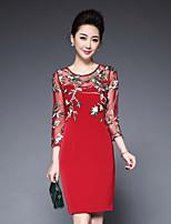 Damen Hülle Kleid-Ausgehen Einfach Solide Rundhalsausschnitt Übers Knie ¾-Arm Polyester Frühling Sommer Mittlere Hüfthöhe Unelastisch