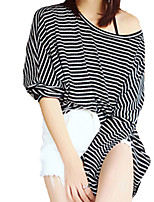 Women's Casual/Daily Simple Fall T-shirtStriped One Shoulder Long Sleeve White / Black Cotton Medium