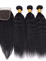 Волосы Уток с закрытием Бразильские волосы 12 месяцев 4 предмета волосы ткет
