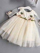 Vestido bordado de la muchacha, media manga del verano del poliester del algodón