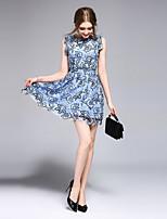 Для женщин На выход На каждый день Вечеринка/коктейль Простое Уличный стиль Изысканный Облегающий силуэт Платье Однотонный,Круглый вырез