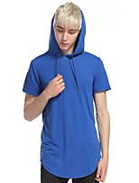 Men's Casual/Daily Sports Simple Active Summer Tank Top,Solid Hooded Short Sleeve Cotton Rayon Thin