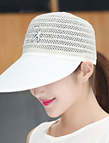 Men Women Leisure Shade Hollow Breathable Straw Solid Color Baseball Adjustable Hat