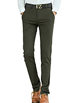 Men's Straight Slim Chinos PantsCasual/Daily Simple Solid Mid Rise Button Cotton Spandex Micro-elastic All Seasons HY-003