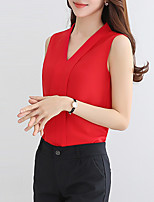 Women's Casual/Daily Work Vintage Sophisticated All Seasons Blouse,Solid V Neck Sleeveless Rayon Polyester