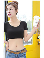 Women's Casual/Daily Sexy Active T-shirt,Solid Round Neck Short Sleeve Cotton