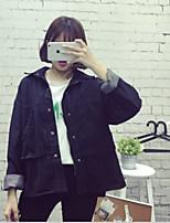 Women's Casual/Daily Simple Summer Denim Jacket,Solid Shawl Lapel Long Sleeve Regular Cotton