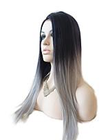 peruca dianteira do laço sintético preto ao cinza longas perucas ombre cabelo calor resistentes retas sintéticas