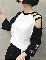 Damen Druck Sexy Lässig/Alltäglich T-shirt,Rundhalsausschnitt Frühling Sommer ¾-Arm Polyester Mittel
