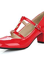 נשים-עקבים-עור פטנט חומרים בהתאמה אישית-נעלי מועדון-לבן שחור אדום כחול ורוד-משרד ועבודה שמלה יומיומי-עקב עבה