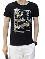 Men's Plus Size Casual/Daily Beach Simple Street chic Active Summer T-shirt,Solid Floral Letter Round Neck Short Sleeve Cotton Spandex