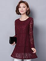 Chemise à lacets à manches longues Chemise longue section de femmes lâches&Chemise de fond à la chemise à manches longues de printemps