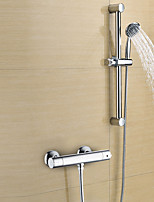 Contemporary Shower Only Widespread Handshower Included with  Brass Valve Two Handles Two Holes for  Chrome , Shower Faucet