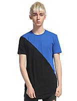 Herren Geometrisch Street Schick Lässig/Alltäglich Klub T-shirt,Rundhalsausschnitt Kurzarm Polyester