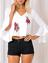 Для женщин На каждый день Весна Осень Блуза V-образный вырез,Простое Вышивка Без рукавов,Хлопок,Средняя