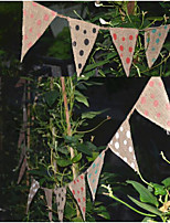 Vintage Jute Polka Dot Banners Wedding Party Birthday Baby Show Photograph Props Bunting Garland Decoration