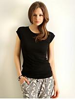 Ebay ALIexpress горячей новая сплошного цвета хлопок вокруг шеи футболку тонкой сексуальная женщина с короткими рукавами футболка женщины