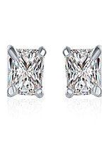 Classic Silver Plated 4 Prongs Clear Square Crystal Imitation drill Stud Earrings for Party Women Jewelry Accessiories