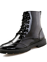 Men's Boots Spring Fall Winter Comfort Patent Leather Outdoor Casual Flat Heel Black/Sliver/Red