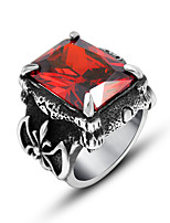 Ring Euramerican Titanium Steel Square Red Jewelry For Daily 1pc