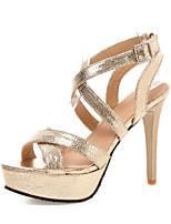 Damen-Sandalen-Hochzeit Kleid Party & Festivität-Lackleder-Stöckelabsatz-Club-Schuhe-Gold Schwarz Silber