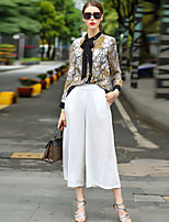Women's Going out Casual/Daily Simple Blouse,Print Round Neck Long Sleeve Polyester