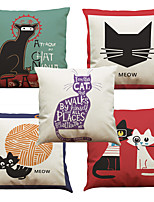 Set of 5 Simple Cartoon Cat Pattern  Linen Pillowcase Sofa Home Decor Cushion Cover (18*18inch)
