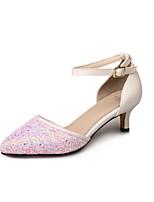 Femme-Habillé Décontracté-Noir Bleu Rose-Kitten Heel-Confort-Chaussures à Talons-Similicuir