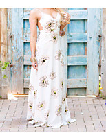 Damen Lose Kleid-Ausgehen Solide Blumen Halter Maxi Ärmellos Baumwolle Frühling Mittlere Hüfthöhe Unelastisch Mittel