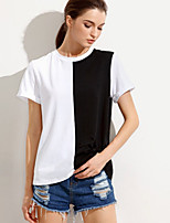 Women's Going out Casual/Daily Simple Spring Summer T-shirt,Check Round Neck Short Sleeve Cotton Opaque