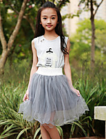 Girl's Cotton Fashion And Lovely Bust Sequins Bowknot Perfume Bottles T-shirt  Bitter Fleabane Bitter Fleabane Skirt Two-Piece Outfit