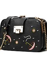 Women Shoulder Bag PU All Seasons Casual Outdoor Office & Career Baguette Button Black