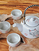 Lucky Prosperity Cat High Temperature Porcelain Tea set with Five Cups