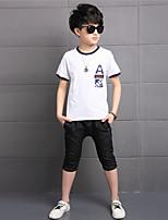 Мальчики Наборы На каждый день Хлопок Искусственный шёлк С принтом Лето С короткими рукавами Набор одежды