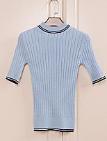 Women's Going out Casual/Daily Simple Regular Pullover,Solid Striped Round Neck ½ Length Sleeve Rayon Spring Fall Medium Micro-elastic