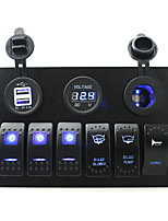 IZTOSS DC 12/24V 6 gang blue rocker switches panel with bilge blower bilge pump horn switch and 3.1A Dual USB voltmeter led power Socket pre-wired and