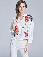 Для женщин На выход На каждый день Весна Осень Рубашка Воротник-стойка,Простое Очаровательный Уличный стиль Цветочный принт Длинный рукав,