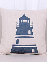 1 pcs Linen Pillow Cover Pillow Case,Graphic Prints Textured Nautical Still LifeOutdoor Euro Tropical Modern/Contemporary Casual