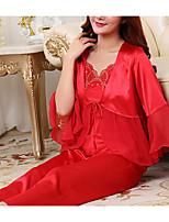 Satin & Soie Vêtement de nuit Femme Couleur Pleine-Moyen Polyester Aux femmes