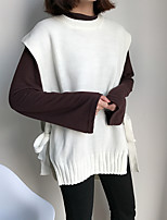 Women's Casual/Daily Simple Street chic Regular Pullover,Solid Round Neck Sleeveless Cotton Spring Medium Micro-elastic