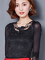 Sign 2017 new lace shirt female Korean Slim thin gauze shirt bottoming shirt big yards