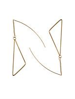 Brincos Compridos Moda Euramerican Liga Forma Geométrica Triangular Dourado Jóias Para Casamento Festa Halloween Diário Casual Esportes1