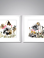 Отпечатки на холсте в рамах Абстракция Цветочные мотивы/ботанический Европейский стиль Классика,2 панели Холст Квадратная Печать Искусство