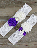 2pcs/set Purple And White Satin Lace Chiffon Beading Wedding Garter